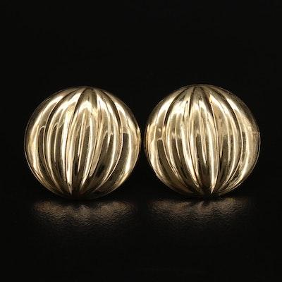 Italian 14K Fluted Earrings