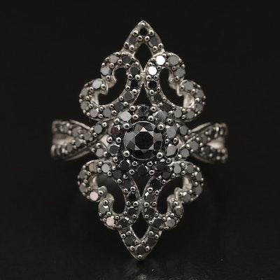 Sterling Silver 1.50 CTW Diamond Openwork Ring