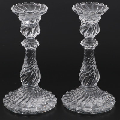"""Pair of Baccarat """"Bambous Swirl"""" Crystal Candlesticks"""