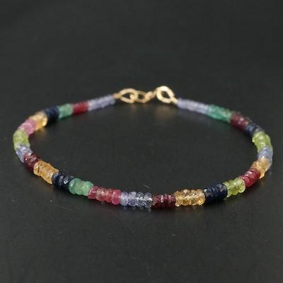 Mixed Gemstone Beaded Bracelet with 14K Clasp