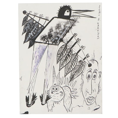Sean A. Garrison Folk Art Ink Drawing of Birds and Figures, 21st Century