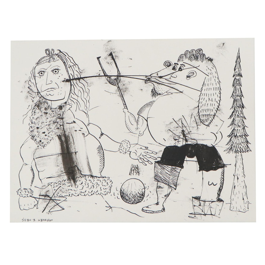 Sean A. Garrison Ink Drawing of Abstracted Figures, 21st Century