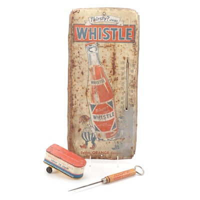 Coca-Cola Ice Pick and Bottle Opener, Whistle Soda Metal Sign, Tin Litho Trailer