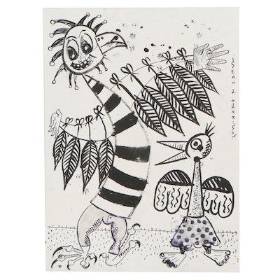 Sean A. Garrison Abstract Folk Art Ink Drawing of Birds, 21st Century