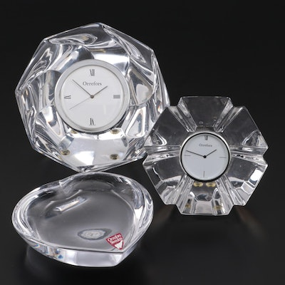 Orrefors Crystal Table Clocks and Paperweight