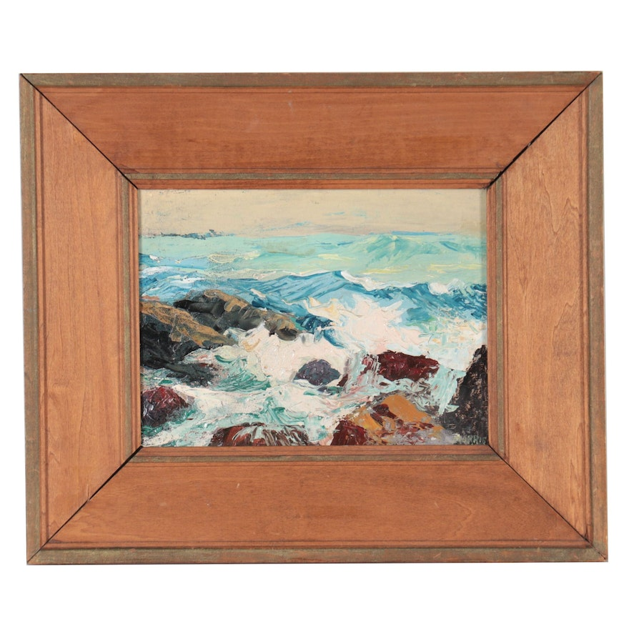 """George North Morris Oil Painting """"Waves at Ogunquit, Maine,"""" Late 20th Century"""