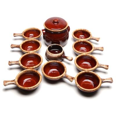 McCoy Pottery Glazed Ceramic French Onion Soup Bowls with Bean Pot