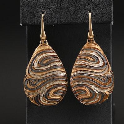Italian Sterling Swirl Teardrop Earrings