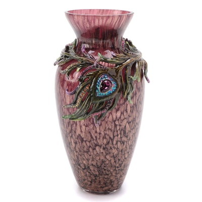 """Jay Strongwater """"Alina"""" Peacock Feather Enamel and Glass Vase"""