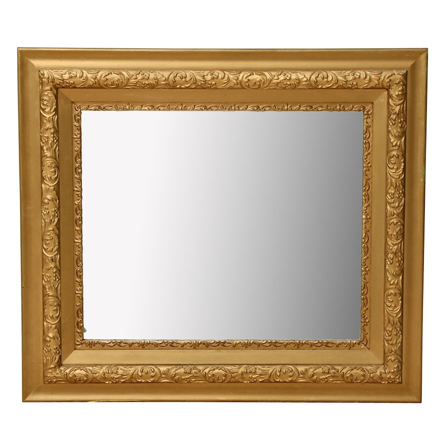 Giltwood and Gesso Rectangular Wall Mirror, Early to Mid 20th Century