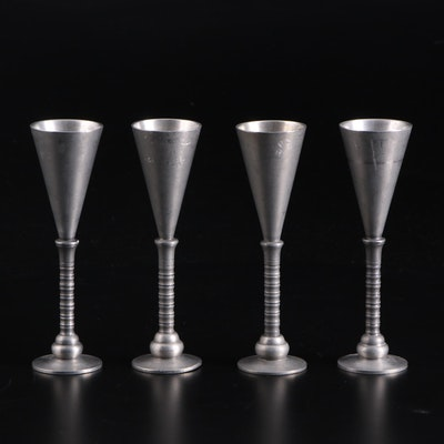 Mid Century Modern Pewter Candlesticks, Mid to Late 20th Century