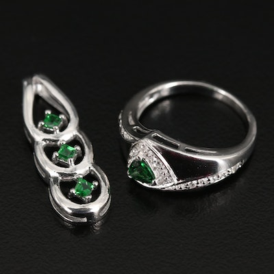 Sterling Silver Tsavorite and Zircon Ring and Pendant