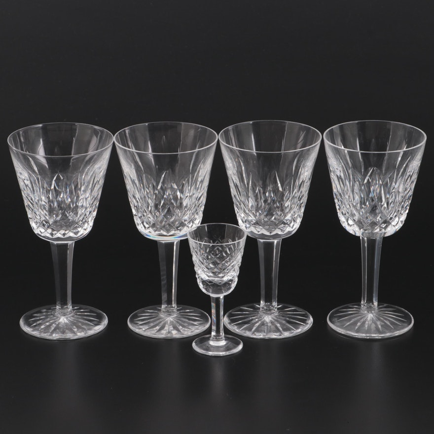 """Waterford """"Lismore"""" Crystal Claret Wine Glasses and Cordial Glass"""