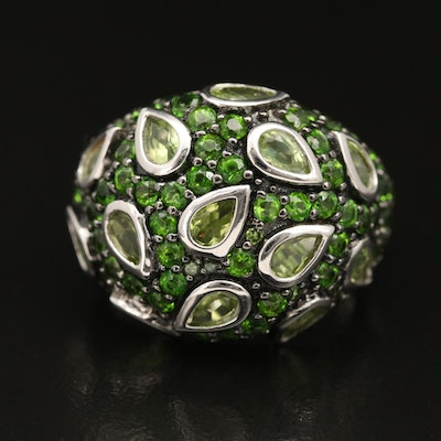 Sterling Peridot and Diopside Domed Ring