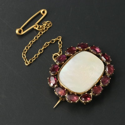 Early Victorian 9K Mother of Pearl and Garnet Brooch