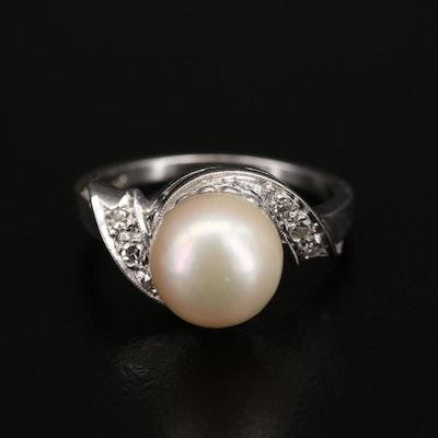 Vintage 14K Pearl and Diamond Swirl Ring