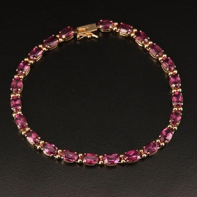 14K Gold Garnet Line Bracelet