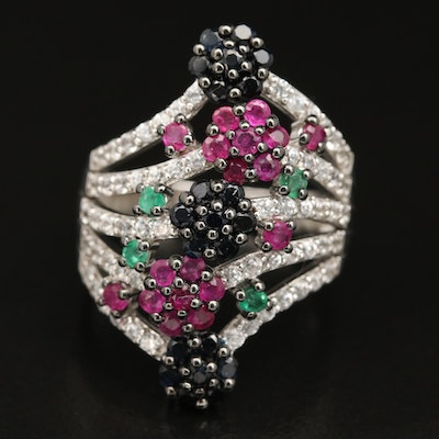 Sterling Floral Cluster Ring Including Ruby, Sapphire and Emerald