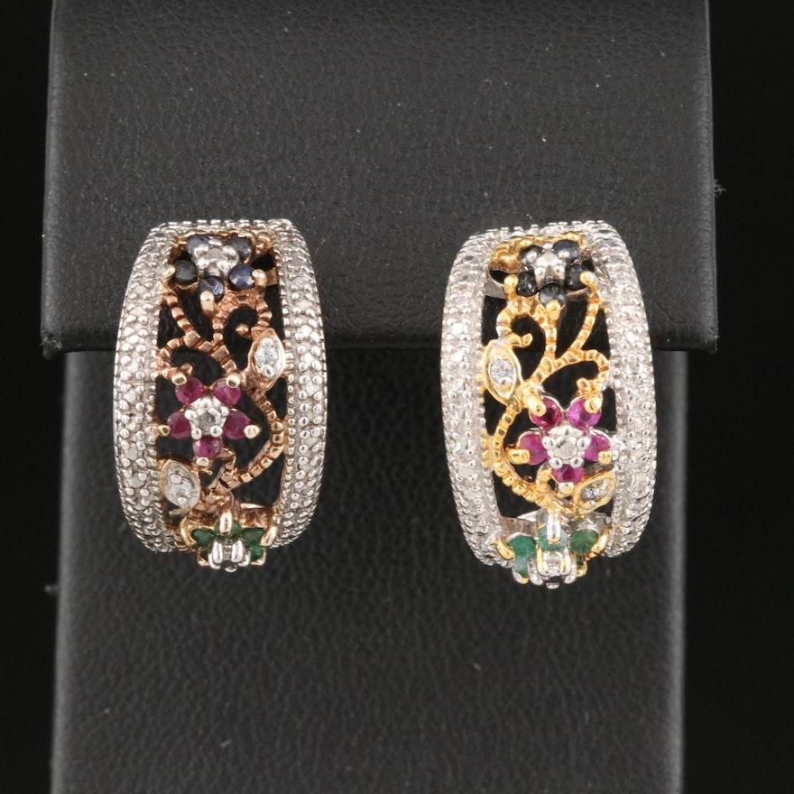 Sterling Sapphire, Ruby and Emerald J Hoop Earrings