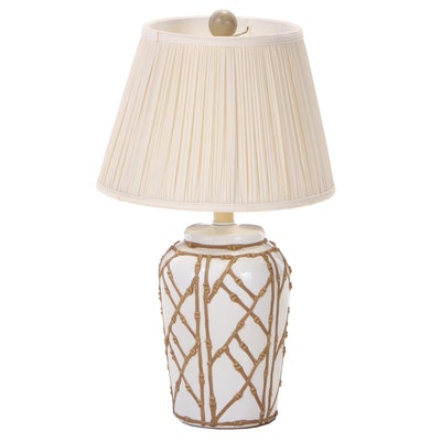 Painted Ceramic Ginger Jar-Form Table Lamp, Late 20th Century