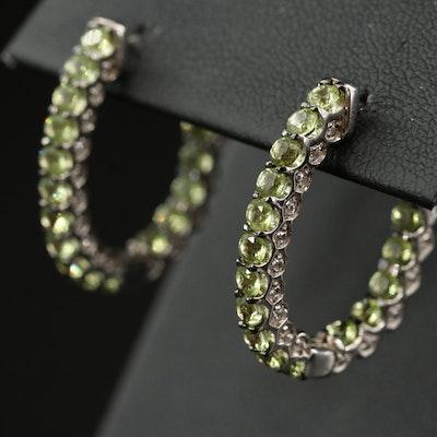 Sterling Peridot and White Zircon Inside-Out Hoop Earrings