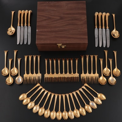 """Towle """"Gold Aristocrat"""" Gold Electroplate Stainless Steel Flatware"""