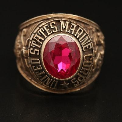 10K Ruby US Marine Corp Ring