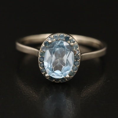 14K Sky Blue Topaz and Sapphire Ring