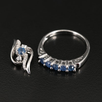 Sterling Silver Sapphire and Zircon Ring and Pendant