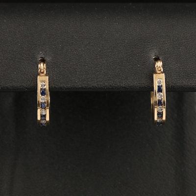 10K Channel Set Diamond and Sapphire Hoop Earrings