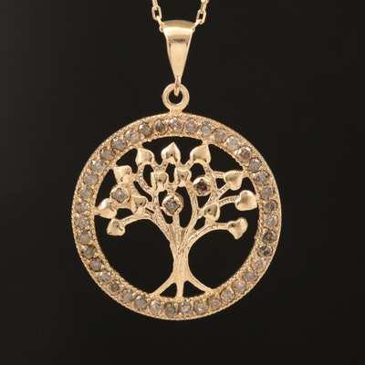 14K Gold Diamond Tree of Life Necklace