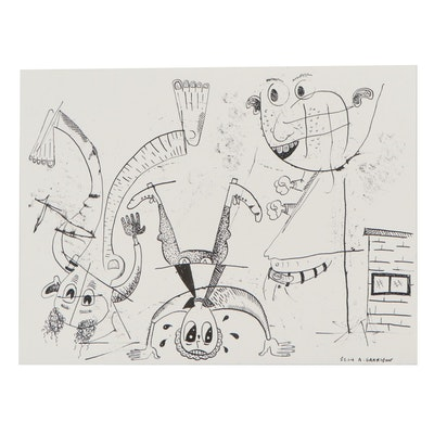 Sean A. Garrison Abstract Folk Art Ink Drawing, 21st Century