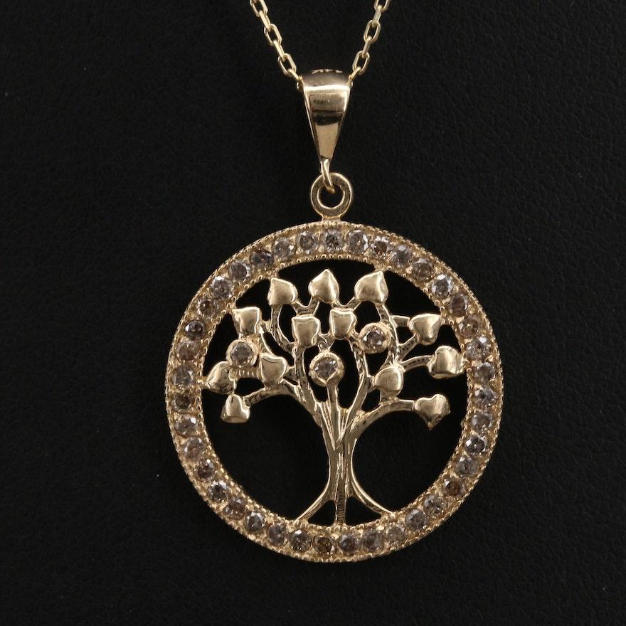 14K Diamond Tree of Life Pendant Necklace