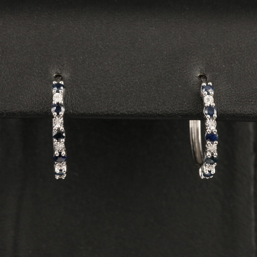 14K Sapphire and Diamond Hoop Earrings