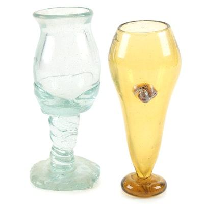 Blown Glass Freeform Goblets