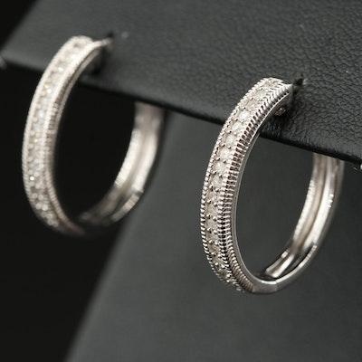 Sterling Diamond Oval Hoop Earrings