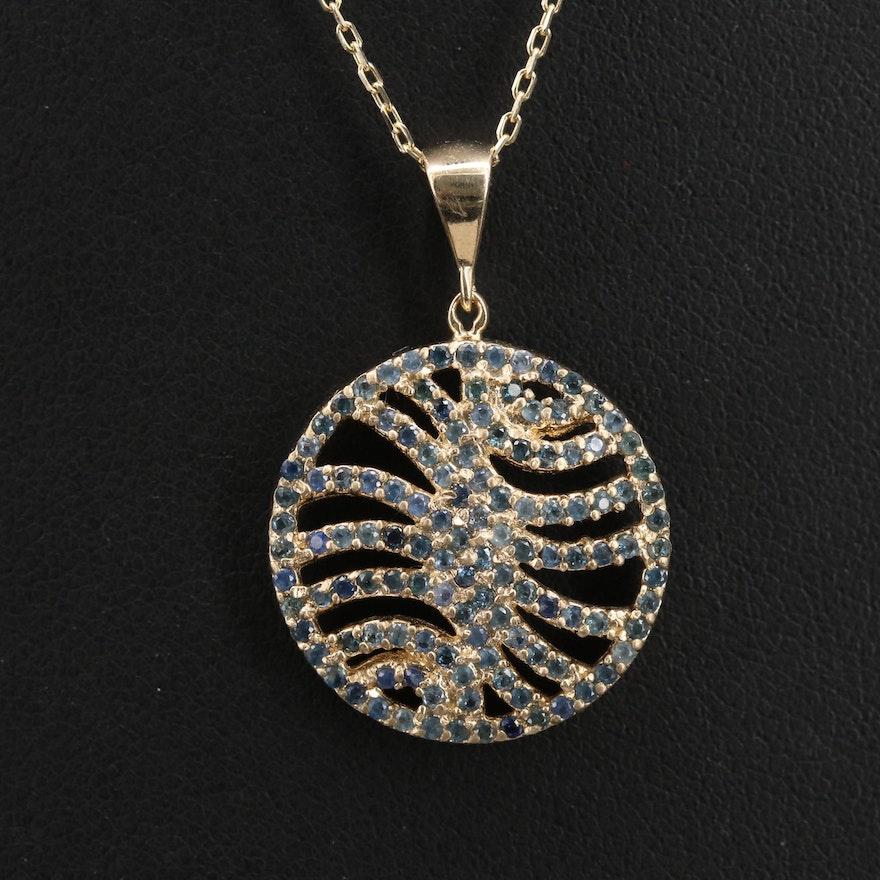 14K Sapphire Circle Pendant Necklace