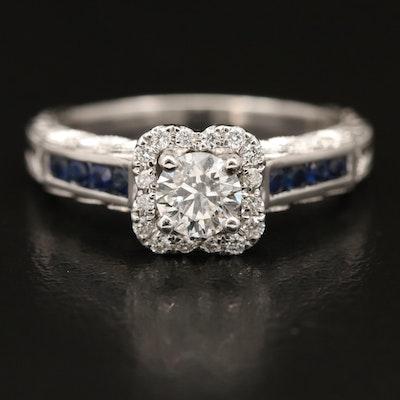 Effy 18K Gold Diamond and Sapphire Ring
