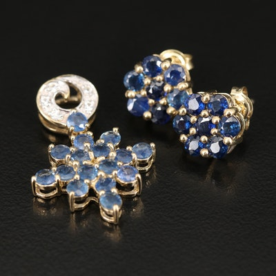 Sterling Silver Sapphire and Zircon Earrings and Pendant