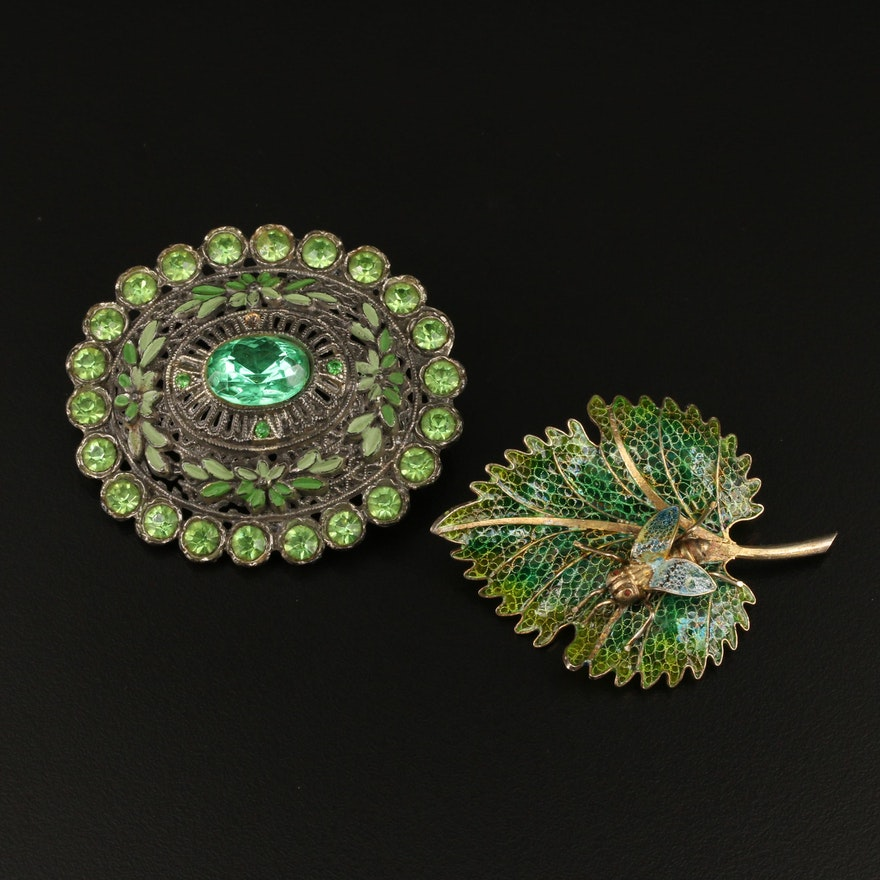 Alioto Adriana Plique-à-jour Insect and Leaf Brooch with Rhinestone Brooch