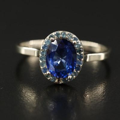 14K Sapphire Halo Ring