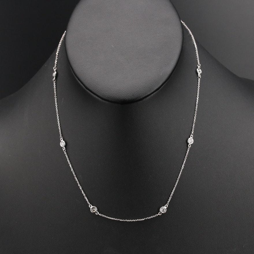 14K Bezel Set Diamond Station Necklace