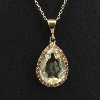 14K Citrine and Diamond Pendant Necklace