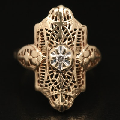 Vintage 10K Diamond Solitaire Ring