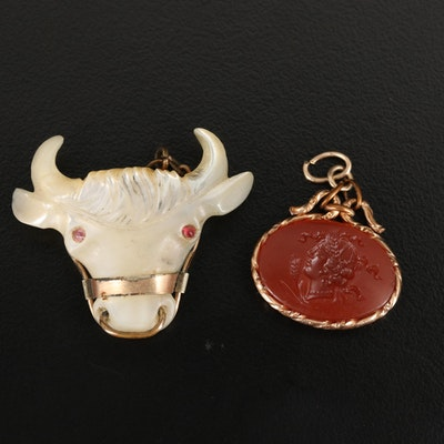 Goddess Demeter Intaglio and Carved Bull Pendants
