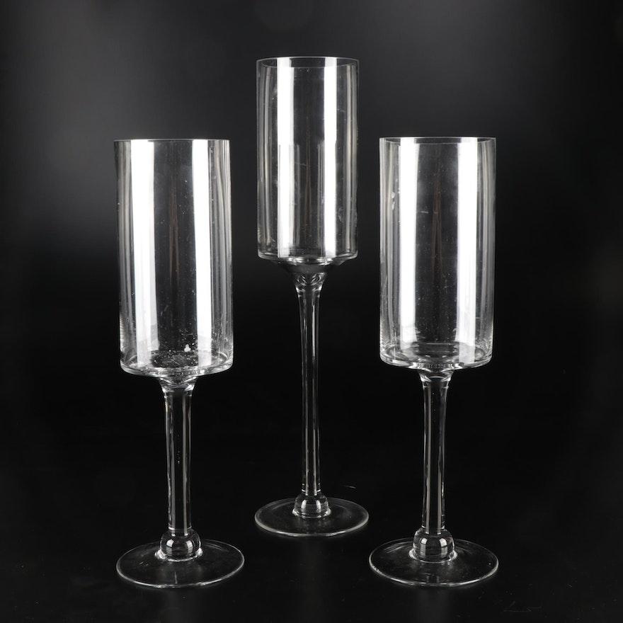 Stemmed Pillar Glass Candle Holders