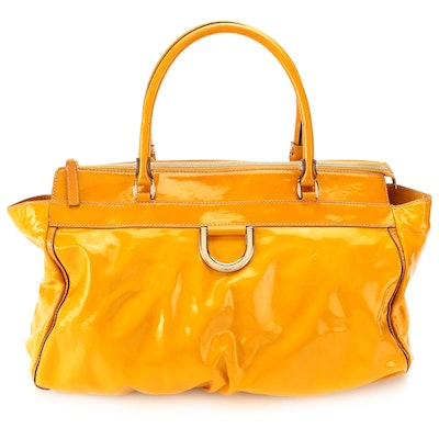 Gucci Abbey D-Ring Tote Bag in Yellow Patent Leather