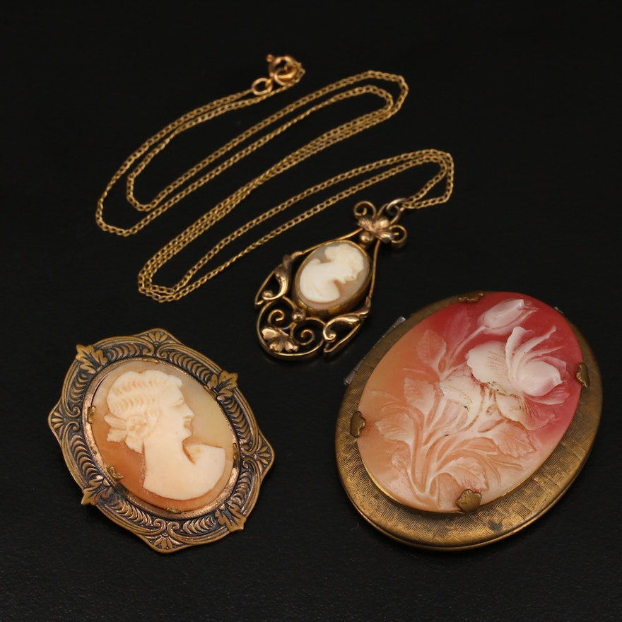 Vintage Cameo Jewelry Including Locket
