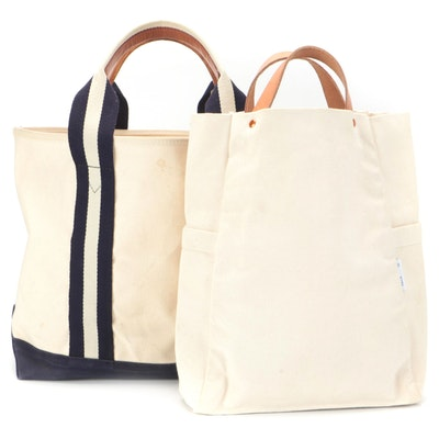 Ralph Lauren Canvas and Leather Trimmed Tote with Yield Small Tote