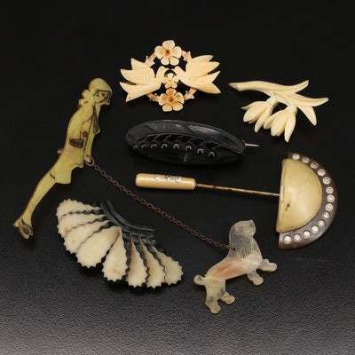 Collection of Early Plastic Jewelry Including  Victorian and Art Deco Eras